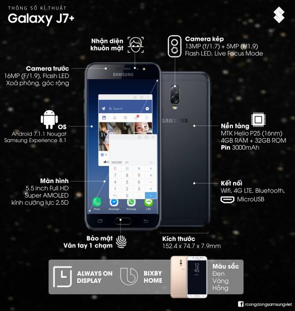 cấu hình galaxy j7+