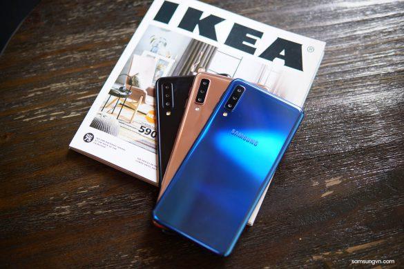 Trên tay 3 màu sắc thời thượng của smartphone 3 camera sau Galaxy A7 (2018)