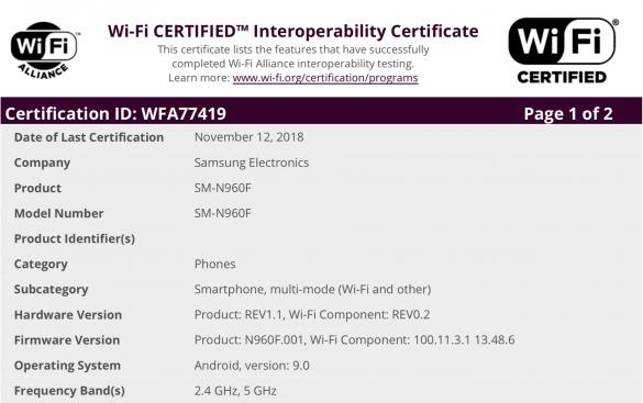 Galaxy Note9, S9, S8, Note8 và cả Note FE đã có chứng nhận WI-Fi cho Android 9 Pie