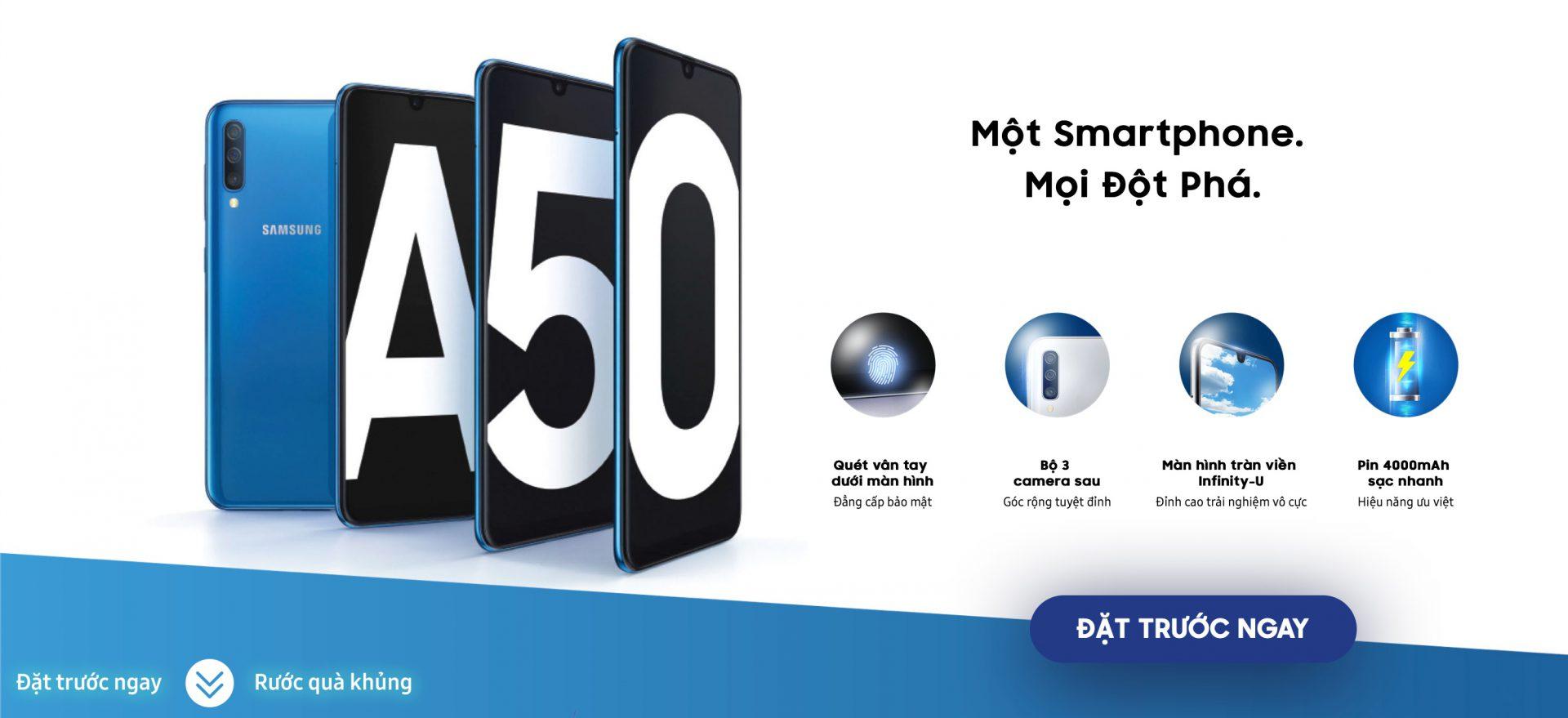 Đặt trước smartphone đột phá Galaxy A50 ngay hôm nay, nhận ngay những phần quà giá trị