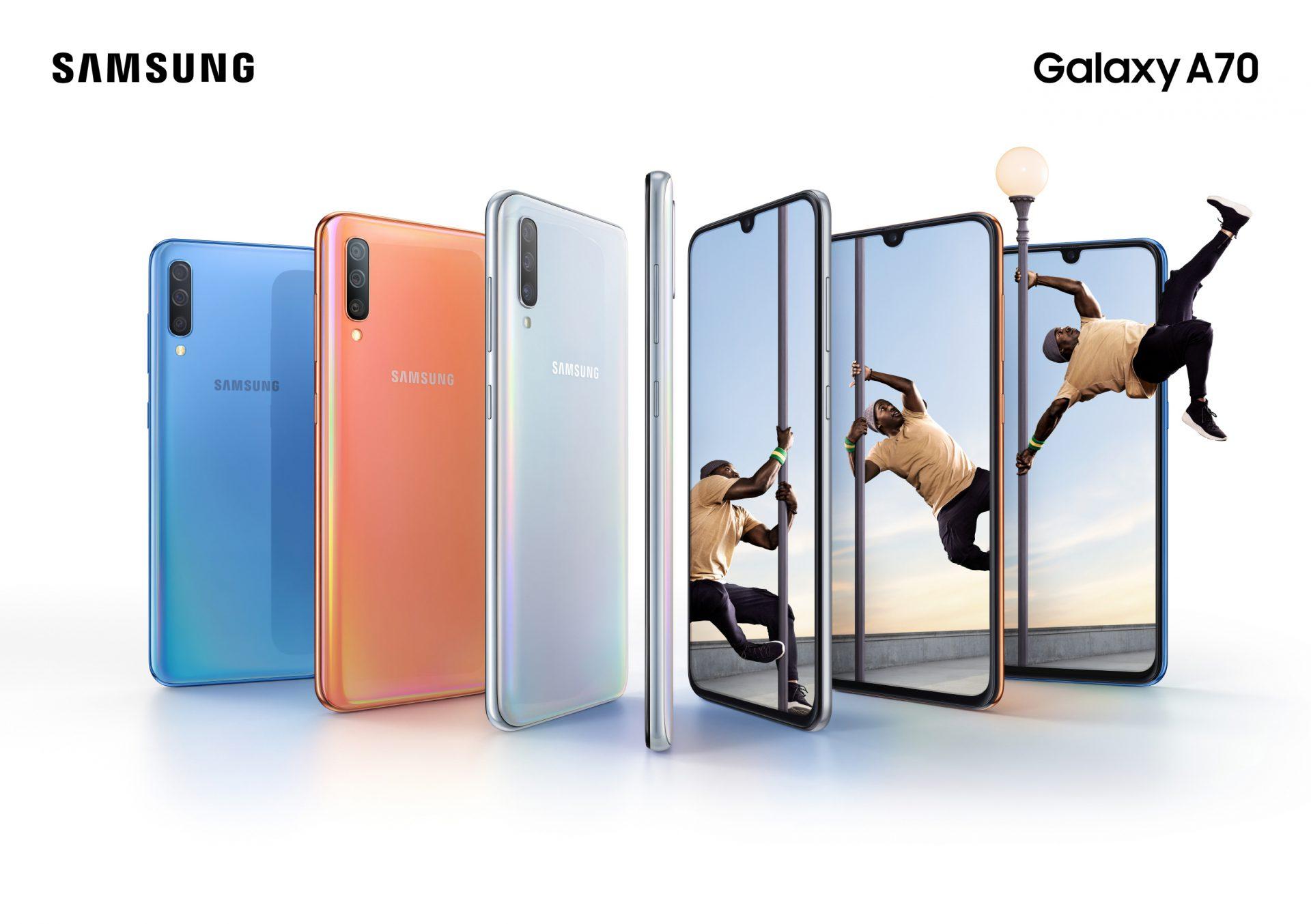 Samsung ra mắt Galaxy A70: sạc nhanh 25W, màn hình tỉ lệ 20:9, vân tay trong màn hình, 3 camera sau, bán ra từ 10/04