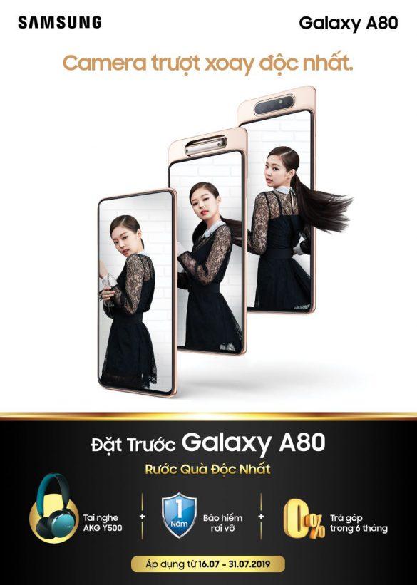 Đặt trước Galaxy A80 với quà tặng siêu chất: tai nghe AKG Y500 & BlackPink Kit